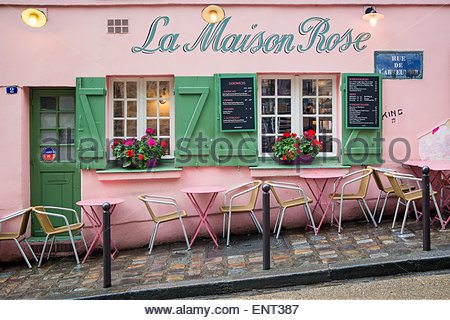 Exterior of la maison rose restaurant montmartre paris for La maison du cafe paris