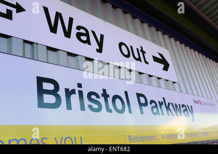 An exit sign on one of the platforms of the Bristol Parkway train station. - Stock Photo