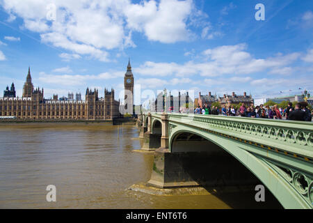 Palace of Westminster and the Elizabeth Tower, known as Big Ben, viewed from the south side of Westminster Bridge, - Stock Photo
