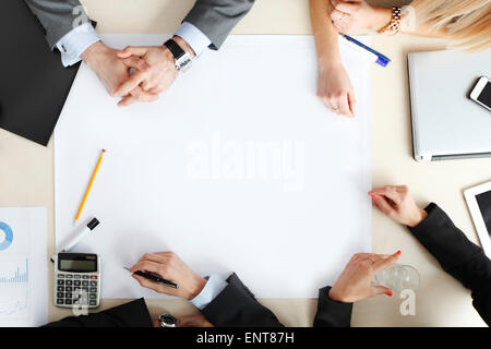 top view at business people at office desk - Stock Photo
