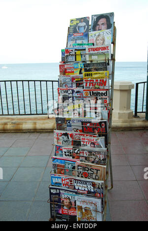 shop display with British magazines at Maltese stationary shop - Stock Photo