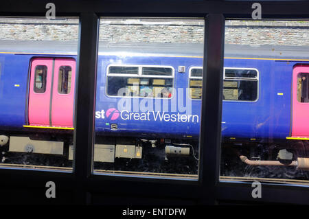 A First Great Western diesel train waits at the Clifton Down railway station in Bristol. - Stock Photo
