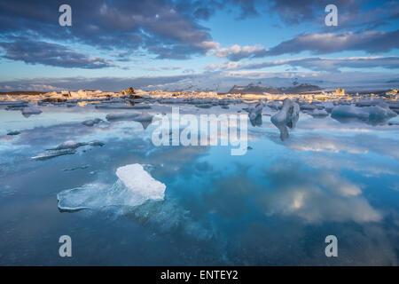 Jokulsarlon Lagoon Iceland at sunris in Vatnajokull National Park - Stock Photo