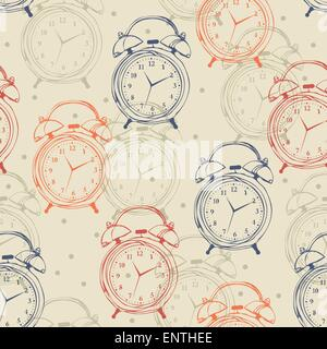 Seamless pattern with alarm clocks in vintage style. Vector illustration. Retro background. Hipster. - Stock Photo