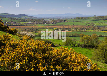 Cotswold landscape and Malvern Hills, Hailes, near Winchcombe, Cotswolds, Gloucestershire, England, United Kingdom, - Stock Photo