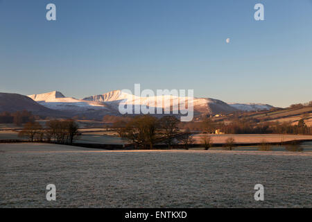 Snow covered peak of Pen y Fan in morning frost, Llanfrynach, Usk Valley, Brecon Beacons National Park, Powys, Wales, - Stock Photo