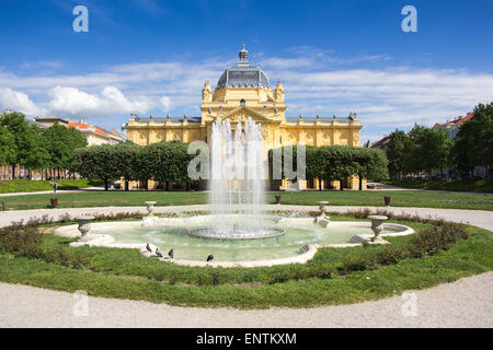 The fountain in front Art pavilion in Zagreb, Croatia, the famous exhibition hall - Stock Photo