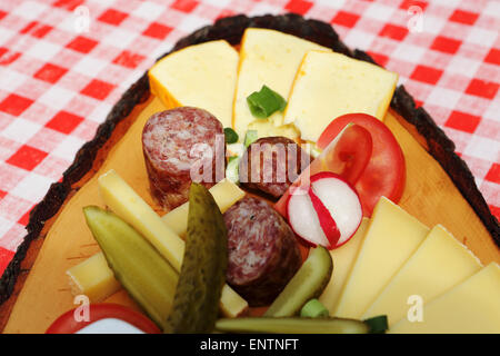 A traditional Thuringian 'Brotzeit' meal served in Germany. - Stock Photo