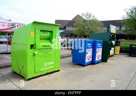 Recycling station in the car park of the Morrisons supermarket in Whitely, Reading. - Stock Photo
