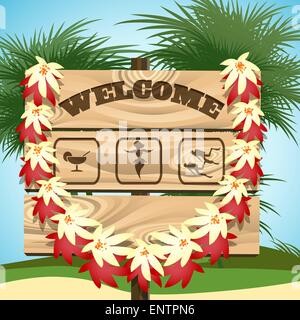 Wooden sign with wording Welcome and emblem of exotic dances, drink bar and ocean diving. Tropical seaside and palm - Stock Photo