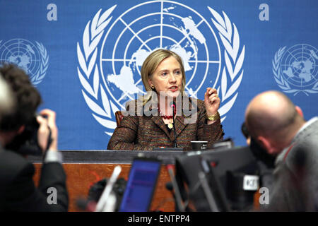 U.S. Secretary of State Hillary Rodham Clinton holds a press conference following her address to the Human Rights - Stock Photo