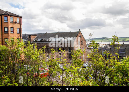 View of the 1836 derelict William Halley & Sons Ltd Jute Mill which is a Listed Building in Dundee,UK - Stock Photo