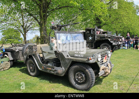 US Army Ford M151A1 MUTT (Military Utility Tactical Truck). Chestnut Sunday, 10th May 2015. Bushy Park, Hampton - Stock Photo