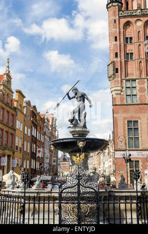 Neptune Fountain (1633) bronze statue on  Dluga Targ (Long Market Street, The Royal Way) symbol of Old Town Gdansk - Stock Photo
