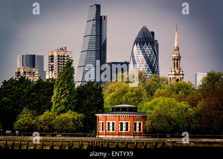 The Gherkin and Cheese Grater buildings from south side of river Thames, Air shaft to Rotherhithe Tunnel - Stock Photo