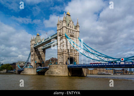 Tower Bridge, London, viewed from south side of river Thames - Stock Photo