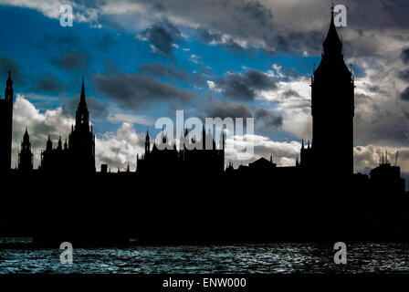 Houses of Parliament, Westminster, London, Silhouette - Stock Photo