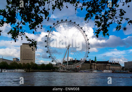 The London Eye, with trees and the River Thames in the foreground. London, UK. - Stock Photo