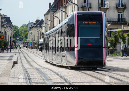 Tramway and trams in Tours, France - Stock Photo