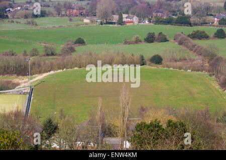 Overlooking an amateur football pitch in Greater Manchester - Stock Photo