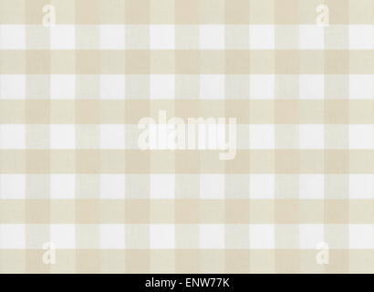 checkered brown tablecloth or fabric texture - Stock Photo