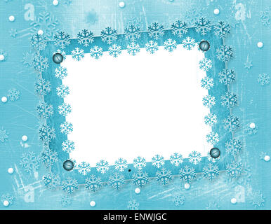 Carved frame for photo on the abstract blue background - Stock Photo