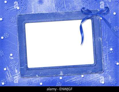 Frame with streamer for photo, on the Winter background - Stock Photo