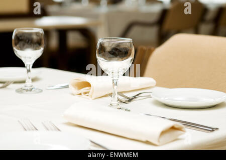 Wine glasses on the table - shallow depth of field - Stock Photo