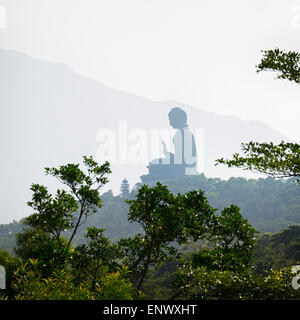 The Giant Buddha in Lantau Island, Hong Kong - Stock Photo