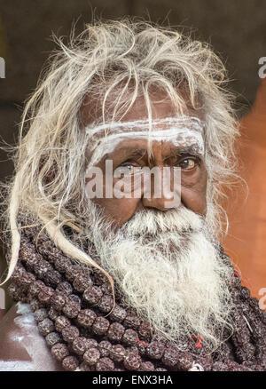 Portrait of a sadhu at the Sri Ramana Ashram in Tiruvannamalai, India - Stock Photo