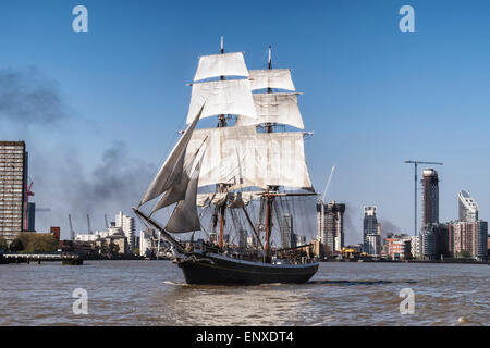 Tall sailing ship, Morgenster, sails up the river Thames, London - Stock Photo