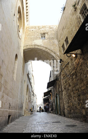 Israel. Jerusalem. Via Dolorosa. Street of Old City, which traditionally Jesus walked carrying the cross, way to - Stock Photo