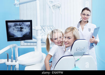 Mom with a child to the dentist in the clinic - Stock Photo