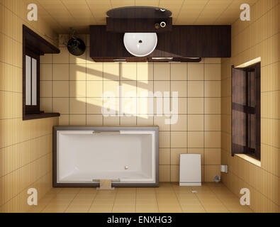 Japanese Style Bathroom With Brown Tiles Top View