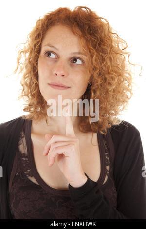 Junge Frau denkt nach - Stock Photo