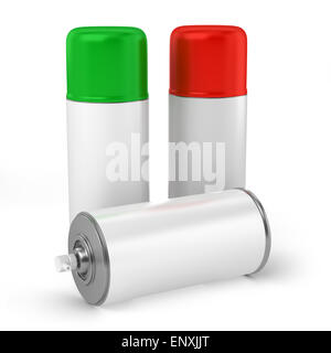 color spray cans isolated on white background - Stock Photo