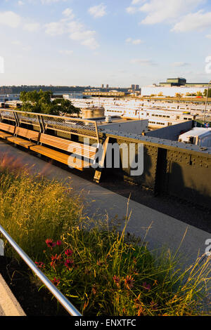 USA, New York, Manhattan, deserted northern section of the High Line linear park on the disused elevated West Side - Stock Photo