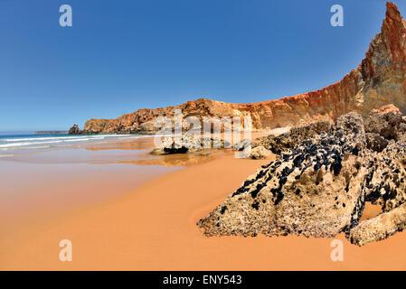 Portugal, Algarve: Beach scenery of Sagres - Stock Photo
