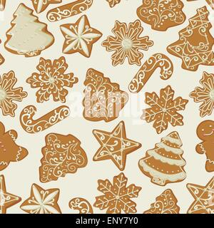 Seamless Christmas pattern with gingerbread Cookies in vintage style. Vector illustration. - Stock Photo