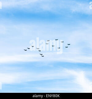 military fighters MiG-29 and attack planes Su-25 during traditional military parade to mark the 70th anniversary - Stock Photo