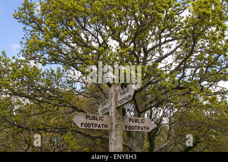 Rustic public footpath sign on the South West Coastal path, near Sidmouth - Stock Photo