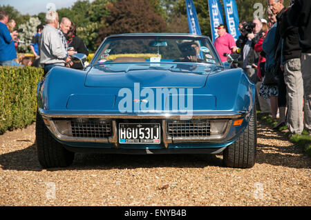 Front end view of a blue, classic American Corvette sports car on a gravel drive with driver, and several on-lookers - Stock Photo