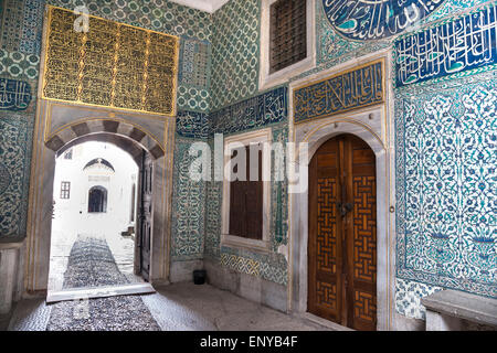 17th cen. Iznik tiles decorating the walls of the Hall with a Fountain in the Harem at Topkapi Palace, Istanbul, - Stock Photo