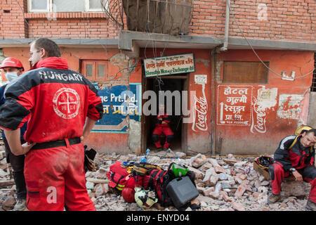 Hungary disaster team in Goganbu Nepal. - Stock Photo