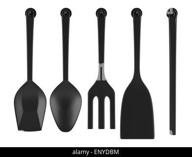 set of five kitchen utensils isolated on white - Stock Photo