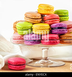 french colorful macarons in a glass cake stand - Stock Photo