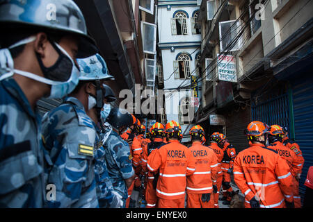 Korean disaster team performing an operation in goganbu Nepal. - Stock Photo