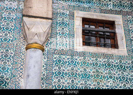 17th cen. Iznik tiles decorating a wall in The Courtyard of the Black Eunuchs in the Harem at Topkapi Palace, Istanbul, - Stock Photo