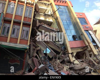 Kathmandu, Nepal. 12th May, 2015. A fresh earthquake has occurred in Nepal. Photo shows damage caused today in Mitranagar - Stock Photo