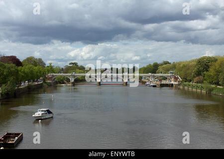 Richmond Lock and Footbridge on the River Thames, England - Stock Photo